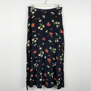 VTG Black 90s Floral Maxi Skirt S